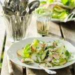 Salade met gerookte forel, rode appel en tuinkers