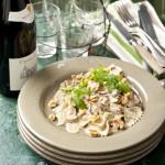 Pasta met paddenstoelen en walnoten & Brouilly Pierreux