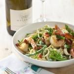 Pasta met gamba's en groene asperges & Chardonnay