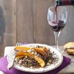 Linzensalade met geroosterde pompoen en hazelnoten&Rioja