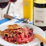 Bietenrisotto met pistachenoten & Pinot Noir
