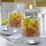 Zalmtartaar met mango en bieslookmayonaise & Chardonnay