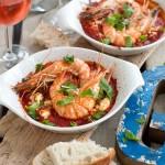 Gamba's met feta in tomatensaus & rosé